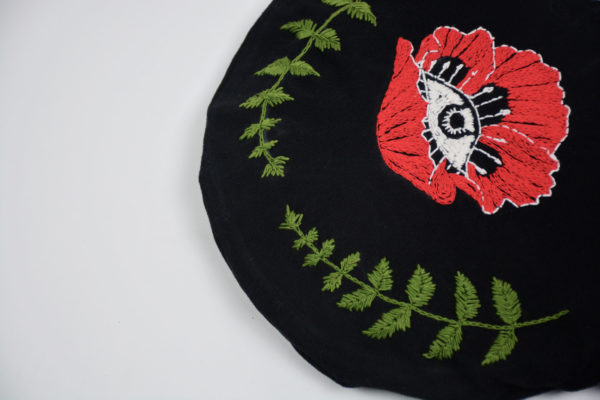 Embroidered rounded bag