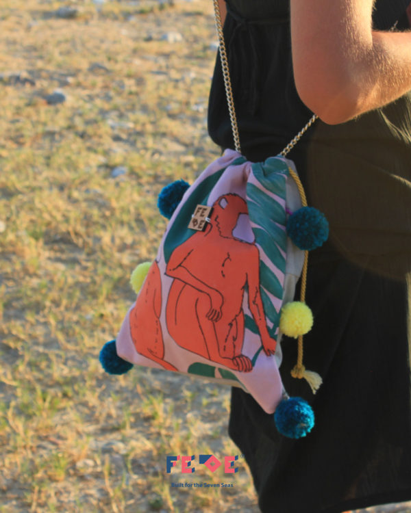 Funny Pink Monkeys Chain Bag by Fede Surfbags