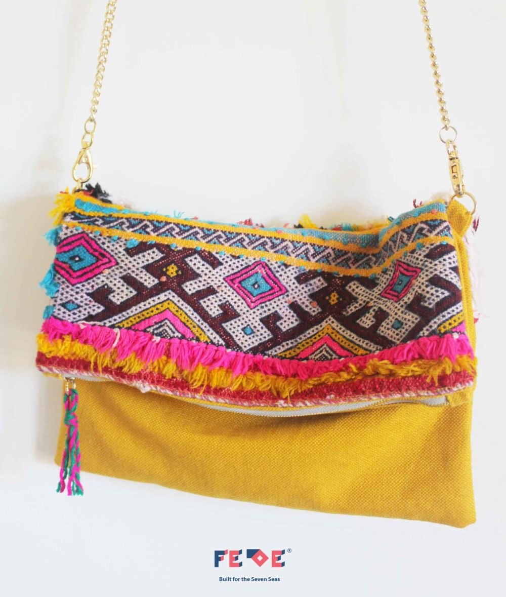 Yellow Colorful CrossBody Chain Bag by Fede Surfbags