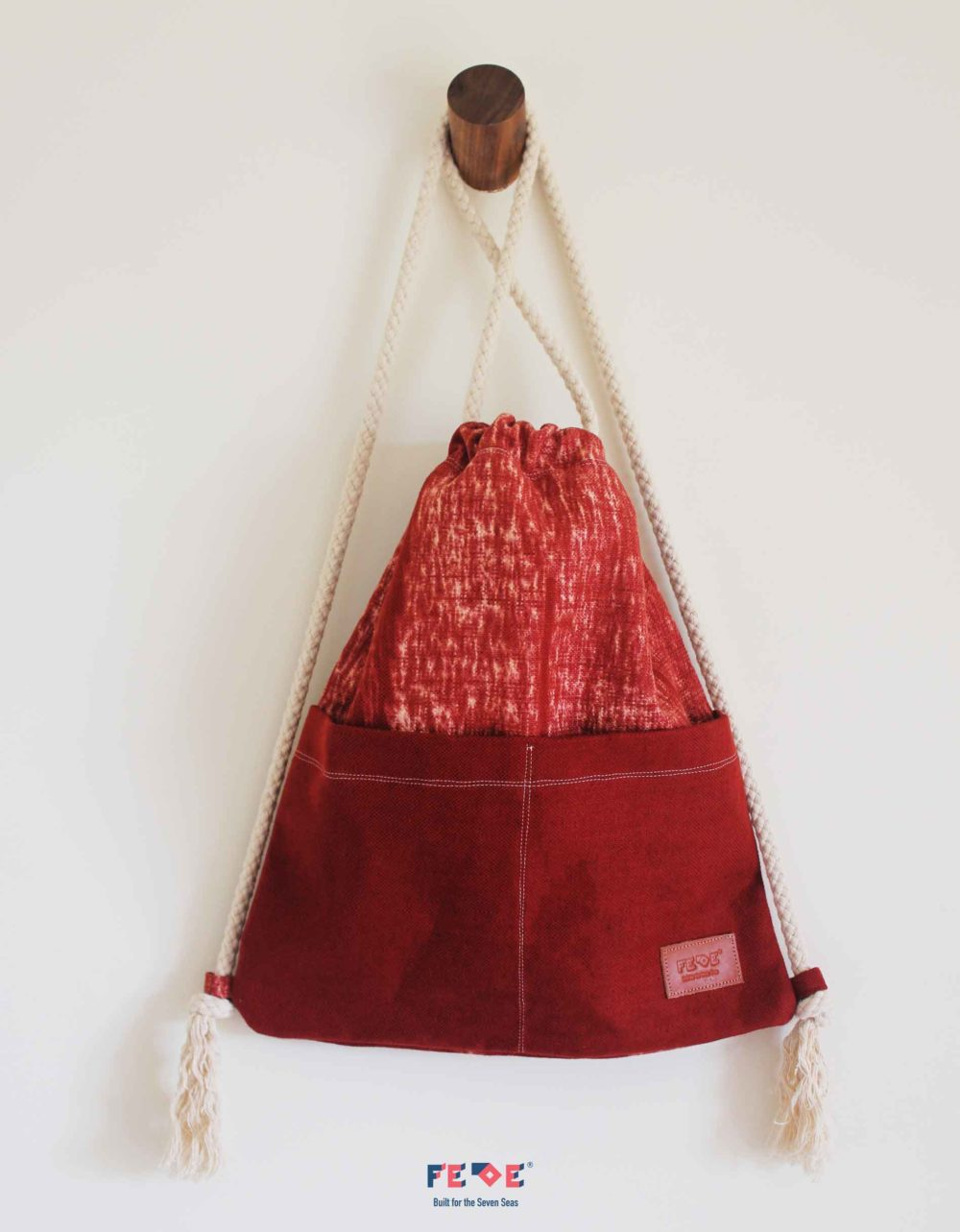 Red Canvas Beach Sack with front pockets - Mini Nomads - Fede Surfbags
