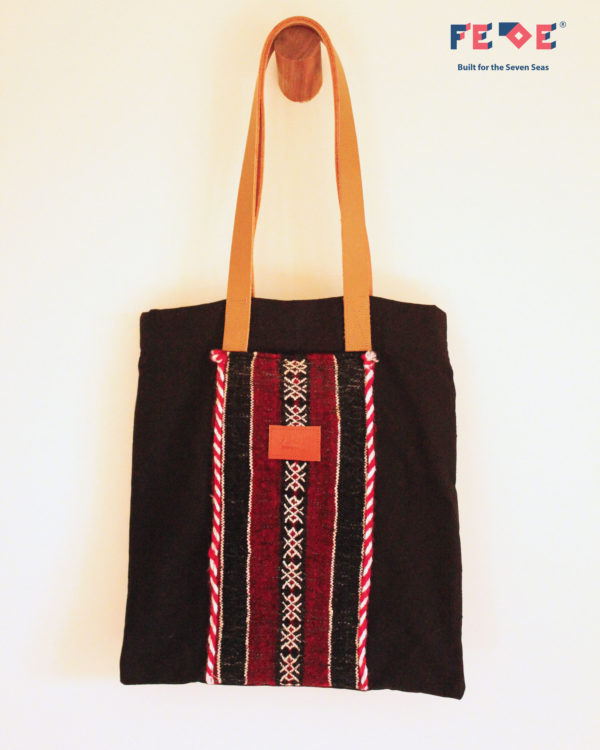 Black Striped Tote Bag with front pocket by Fede Surfbags