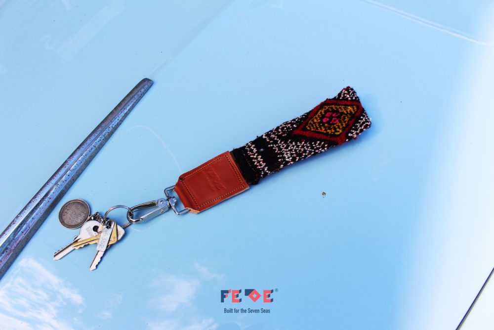 keys lanyard made with berber carpets and leather by Fede Surfbags