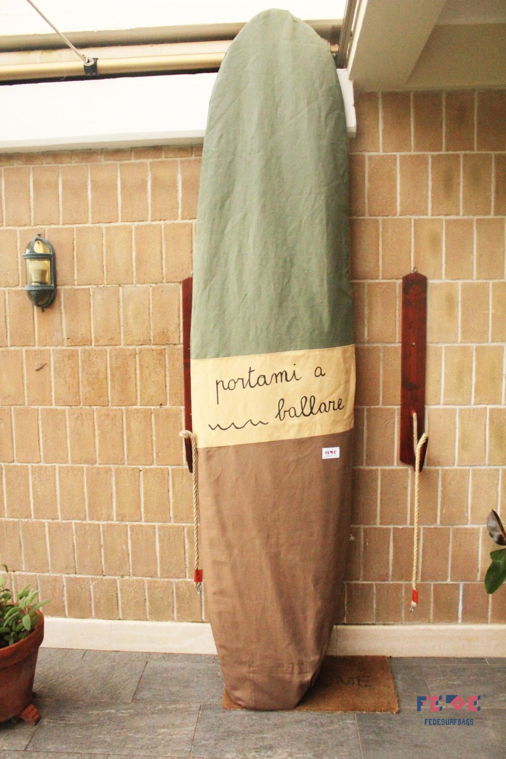 personalized canvas surfboard bag by Fede Surfbags