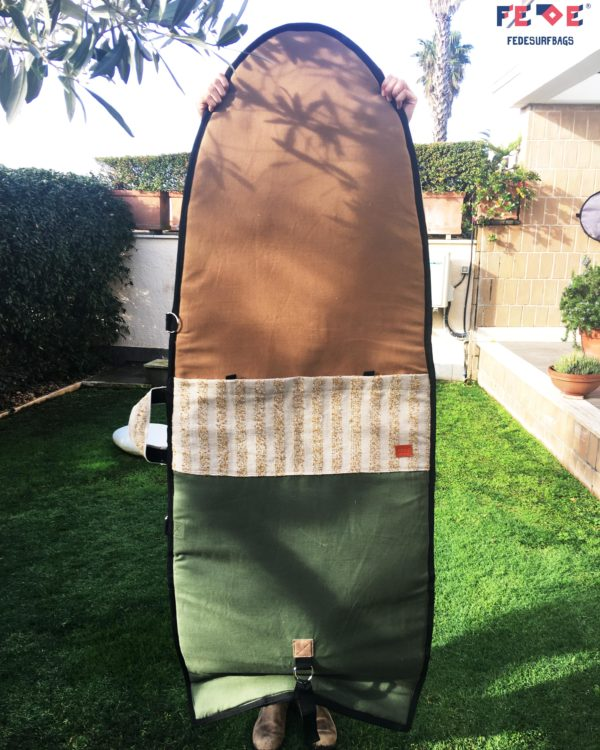 Padded Travel Surfboard Bag Handmade In Italy with up-cycled materials by Fede Surfbags