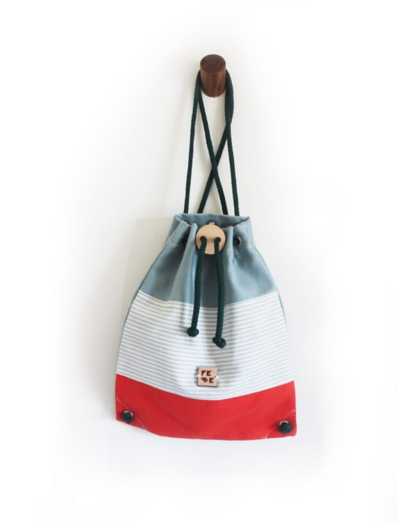 Cotton Canvas Rucksack with drawn-strings closure. Sailor Corallo Mini Nomad by Fede Surfbags.