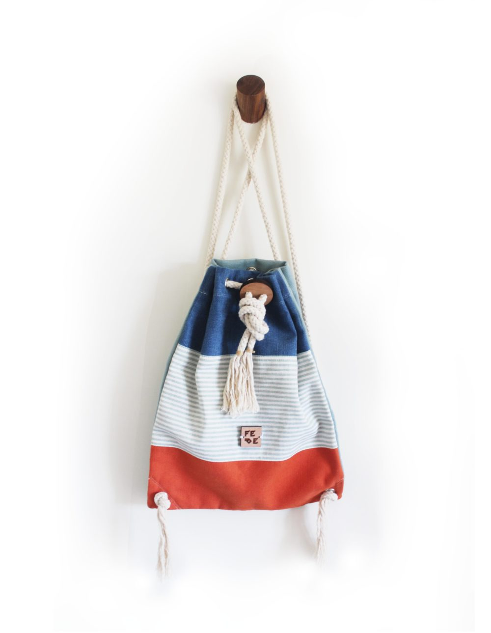 Blu & Orange Cotton Canvas Rucksack with drawn-strings closure. Sailor Corallo Mini Nomad by Fede Surfbags.