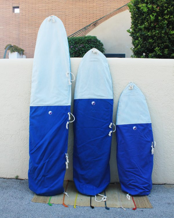Blue Stripes Cotton Canvas Surfbag x any size of surfboard. Handmade in Italy by Fede Surfbags