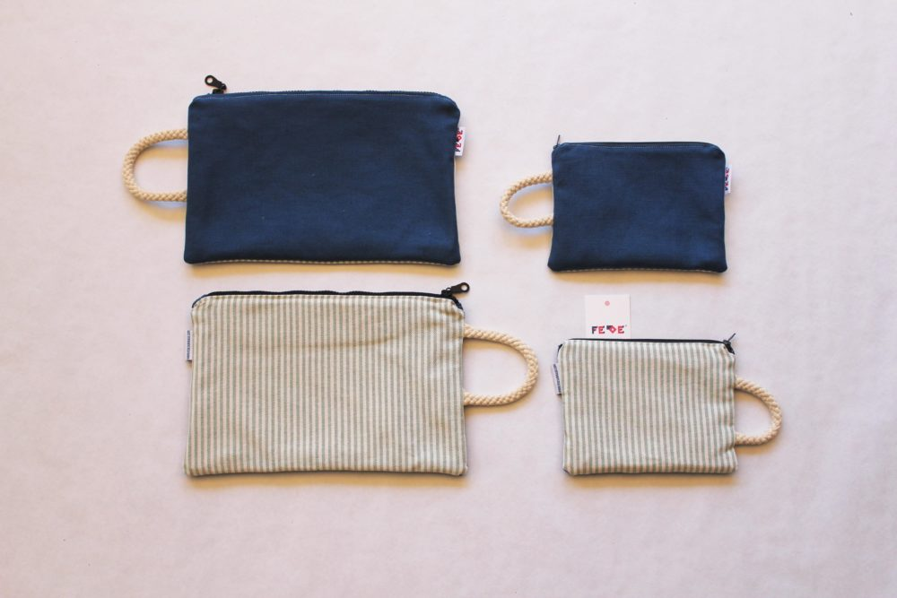 Sailor Blu Unisex Canvas Pochette. Handmade in Italy by Fede Surfbags. Sustainable