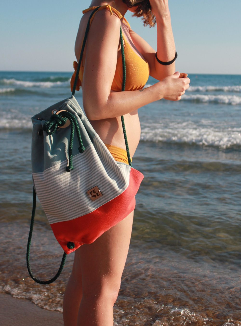 Cotton Canvas Rucksack. Handmade in Italy. Sustainable. Built for the beach time by Fede Surfbags.