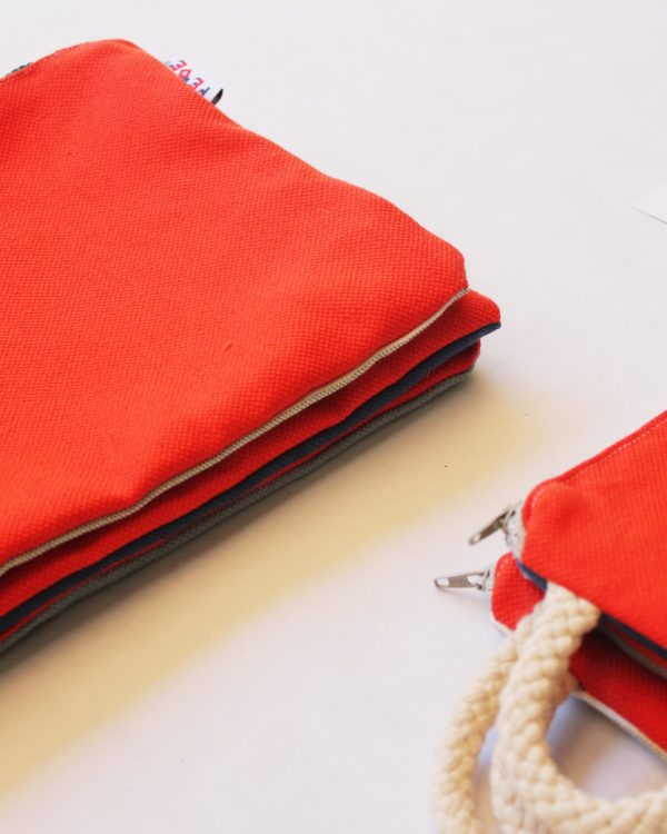 Sailor Corallo Unisex Canvas Pochette. Handmade in Italy by Fede Surfbags. Sustainable