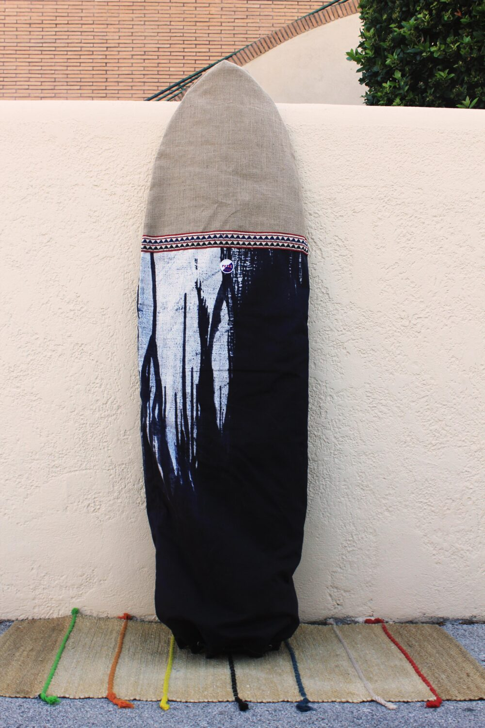 Blue Tie Dyed Surfboard Bag with single fin slot. Handmade in Italy by Fede Surfbags