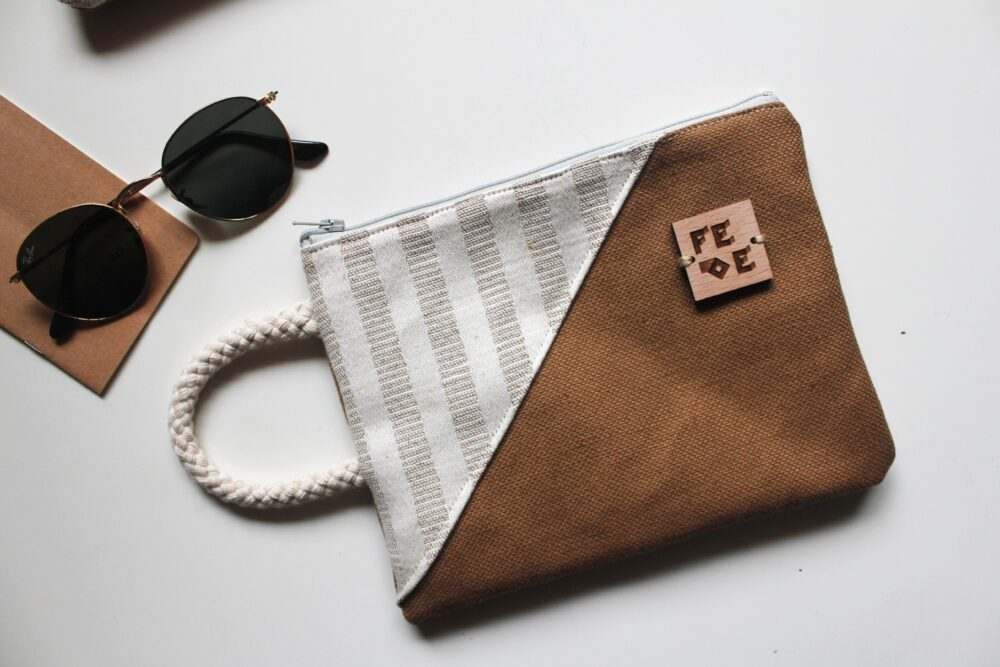 Unisex Canvas and Rope Pochette. Built with fabric production leftovers. zero waste