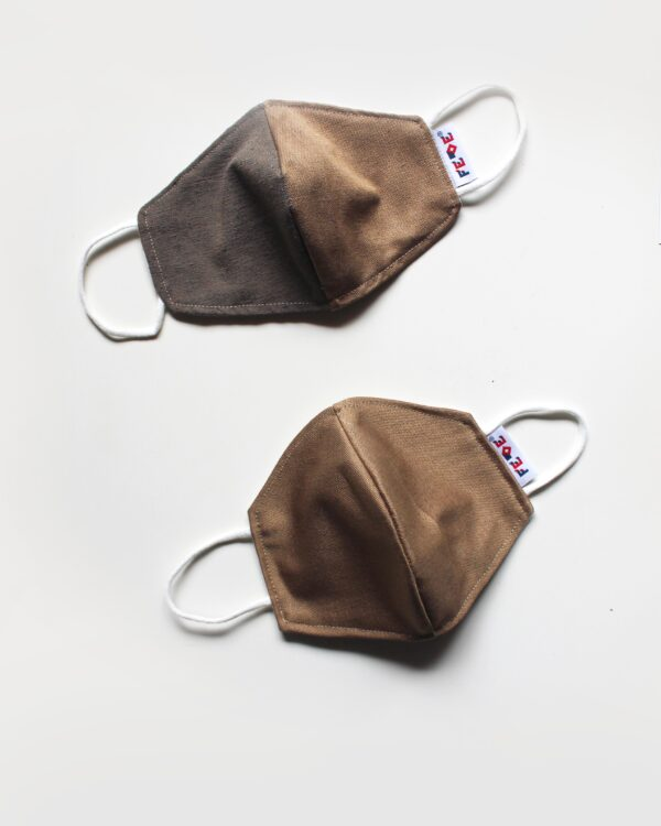 Golden Brown Reusable Face Masks. O waste Collection