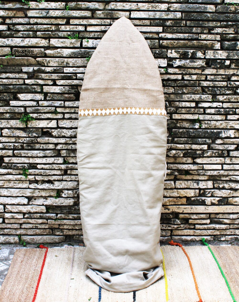 Sand Color and Stripes Vintage Canvas surfboard bag for retro and fish surfboard. Handmade in Italy by Fede Surfbags