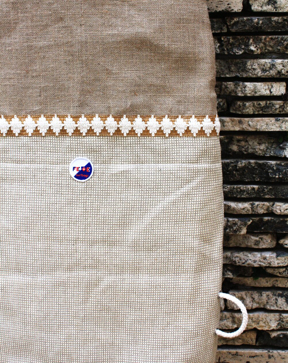 Vintage White Fabric and hemp Canvas Surfboard Bag - handmade in Italy- Fish surfboard