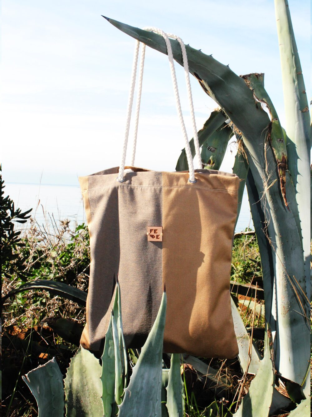 Golden Brown Shopper. handmade in Italy with fabric leftover.