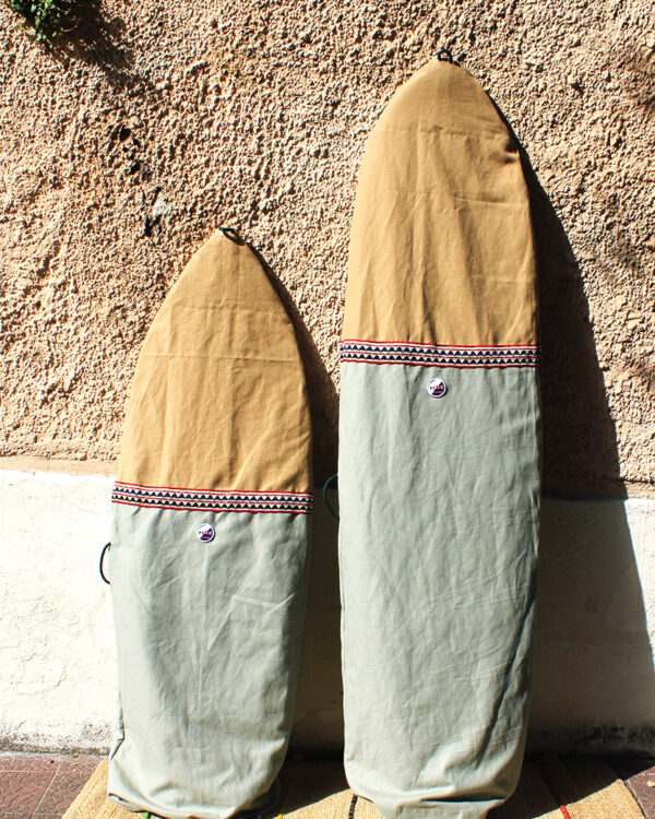 Sage Green Sustainable Canvas surfbag. Made in Italy by Fede Surfbags